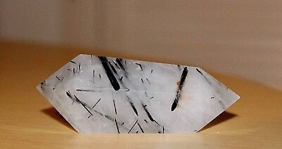 White crystal Quartz double point with black Tourmaline inside,w - 67g ,l - 7cm