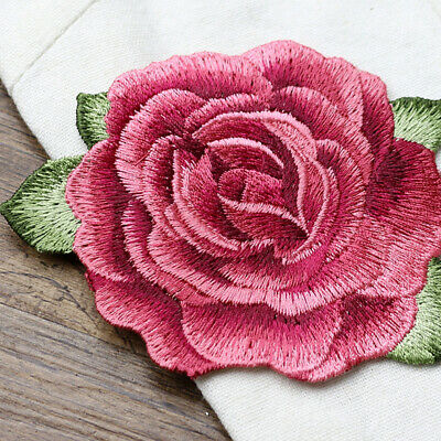 1x Red Peony Big Patch Applique Embroidery Flower Patches Sewing on Patch