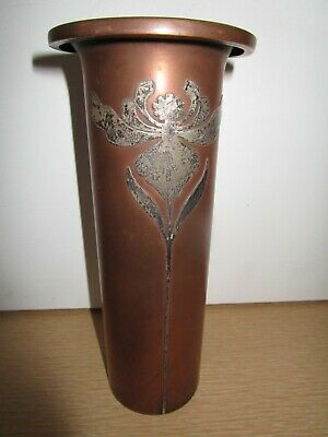 "Arts&Crafts Art Nouveau Heintz Metal Art Shop Sterling Silver on Bronze 8"" Vase"