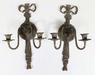 (2) Antique French Neoclassical Two Light Wall Sconces Ribbon Wreath Design