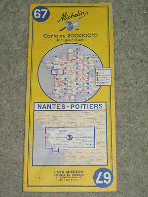 Michelin map: Western France: Nantes-Poitiers sheet 67, 1968 edition