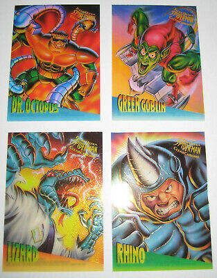 1995 Fleer Ultra Spiderman Clear Chrome Set of 4 Trading Cards of 10 Marvel Rare