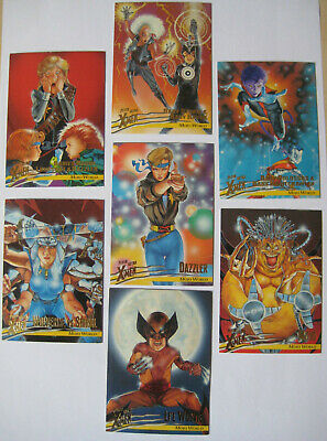 1996 Fleer X-Men Mojo World Set of 7 Trading Cards Marvel Wolverine Nightcrawler