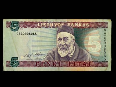 LITHUANIA 1993, 5 Litai Collectible Banknote. Fine Condition