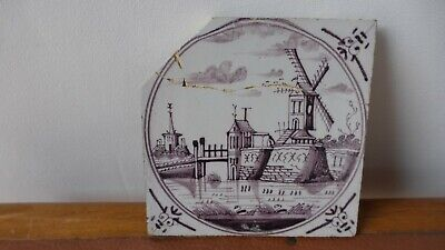 Dutch DELFT or French TILE. Ancien carreau Manganese  XVIIIth C