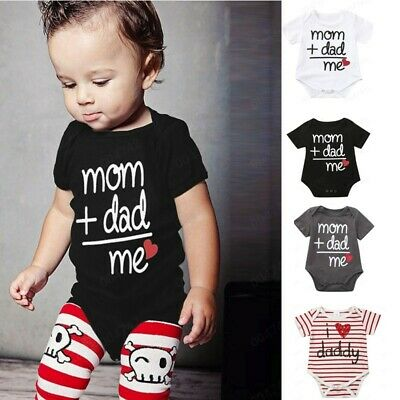Toddler Newborn Baby Girls Boys Letter Printed Tops Bodysuit Romper Clothes