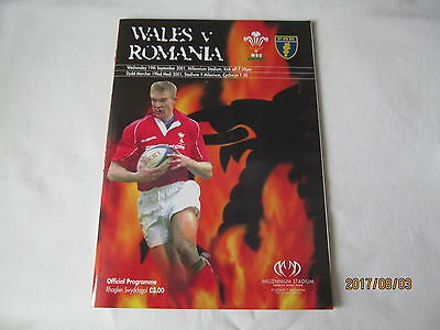 Wales v Romania. Rugby Union. 2001