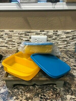 Tupperware Lunch-It  - Set of 2 - NEW - Papaya with Peacock Seals