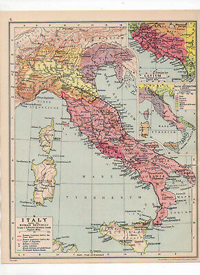 Antique Map Of Roman Italy Printed C1930