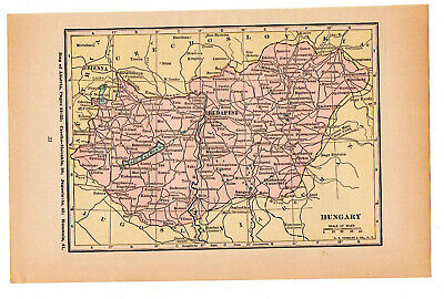 Map Of Hungary Budapest Vintage  1926