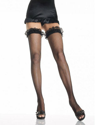 Sexy Black Fishnet Thigh High Hold-ups with Lace Ruffle Top One Size