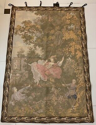 Antique French Tapestry Wall Hanging Aubusson Style - 87 By 135 Cm