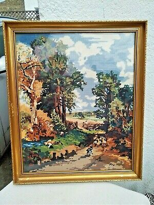 Vintage Framed Tapestry Needlework Cross Stitch Countryside Landscape Picture