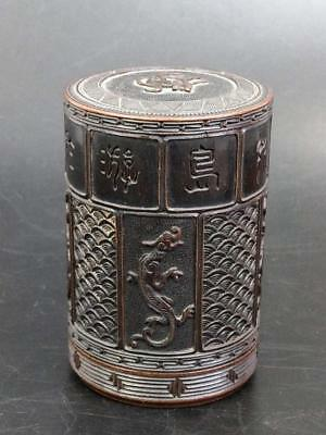 Antique Chinese wood Opium box carved with dragons, seal script and signature