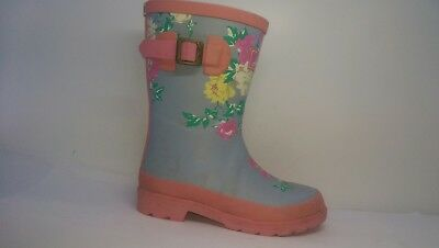 Joules Printed Floral Wellington Boots Blue/Pink Girls Size Infant UK 13