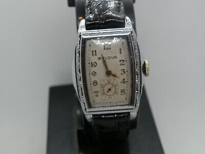 1930`s BULOVA  * MAXIM  * ..RARE WHITE GOLD FILLED  STEPPED CASE ...SERVICED