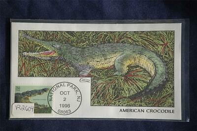 Endangered Species American Crocodile FDC Handpainted Collins#R2604 Sc#3105d