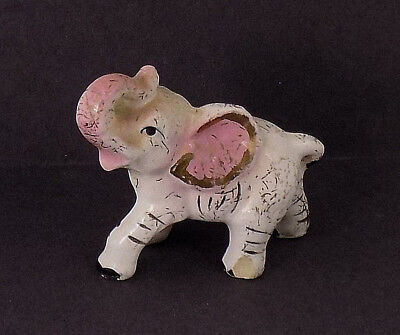 1940'S COLORED Ceramic standing lucky RAISED TRUNK BABY elephant figurine REPAIR