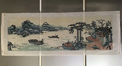 LARGE unused vintage Needlepoint Canvas with Asian river scene