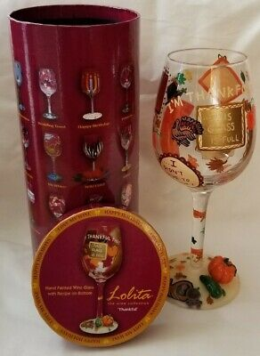 "Lolita Love My Wine ""Thankful"" Glass Thanksgiving Fall Pumpkin Turkey Recipe IOB"