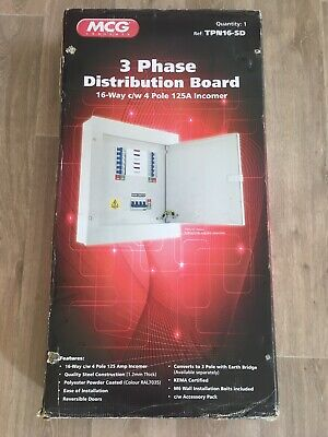 MCG 4 Pole 16 Way Distribution Board 3-Phase 125Amp Main Switch TPN16SD