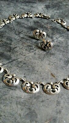 6a3d58ad14c Vintage 1940s Taxco artsist R Rivera Mexico Streling Silver Necklace &  Earrings