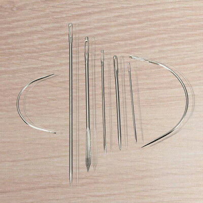 2X(7 Repair Sewing Needles Curved Threader for Leather Canvas Stainless Steel 2P