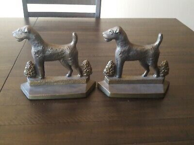 Vintage Bookends Dog  Terrier,Airedale,Fox,Welsh Copr Pal 1929 large