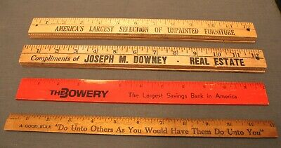 Small Collection Of Vintage Wood Advertising Rulers, Coca Cola, J.M Downey, Etc.