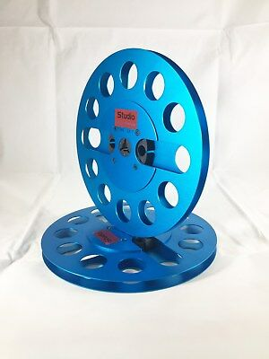 "ONE PAIR   New  7"" Anodized Aluminum  metal Reel to Reels  Blue"