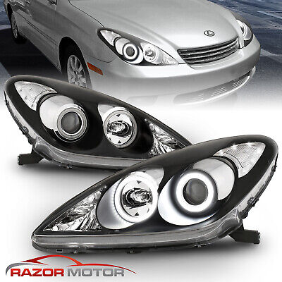 [CDRL+LED Halo]For 2002 2003 Lexus ES300/04-06 ES330 Black Projector Headlights