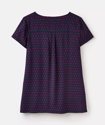 JOULES WOMENS Lucia POP OVER Shirt IN Navy Pink Spot Size 12