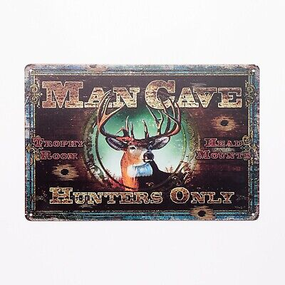 Man Cave Deer Buck Hunters Only Trophy Room Vintage Metal Tin Sign  TSC188