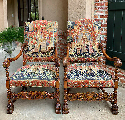PAIR 2 Antique French Carved Oak BARLEY TWIST Dining ARM CHAIR Tapestry Unicorn