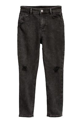 Girls Jeans Skinny Fit Ripped Trousers Washed Out Black Age 14 Years - H&M - New