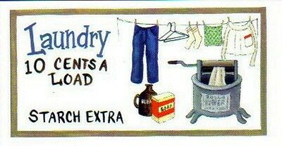 """Laundry 10c Room Decor Sign vintage tub Country Primitive Wood 4.5x10"""" sign"""