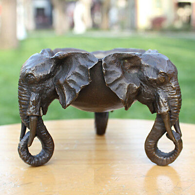 Western Art Deco Sculpture three Elephant head Bronze Ashtray Statue L77