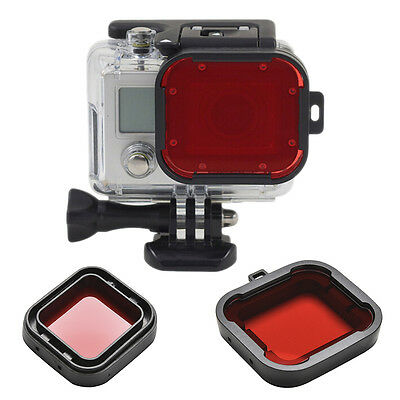 Underwater Sea Diving Snap on Red Lens Filter for GoPro Hero 3+ 4 Housing Case.#