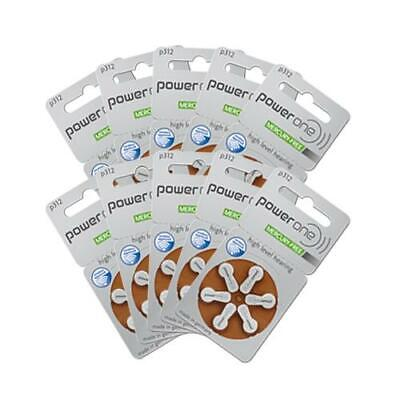 Power One Hearing Aid Batteries Size 312 (QTY 60) Zinc Air