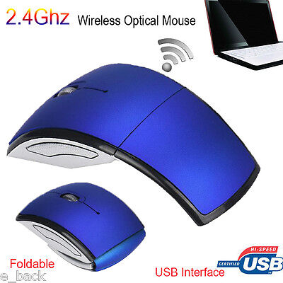 Slim 2.4GHz Foldable Arc Wireless Optical Mouse Mice+USB Receiver For PC Laptop