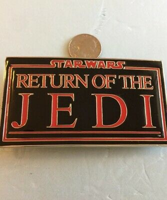 "New STAR WARS ""Return Of The JEDI"" Belt Buckle Chrome BLACK & RED Text 4X2 Inch"