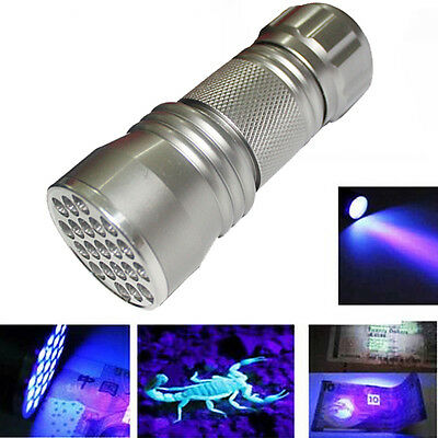 UV Ultra Violet 21 LED Flashlight Mini Blacklight Aluminum Torch Light Lamp Lot