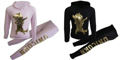 Girls Unicorn Hood Top Leggings Tracksuit Outfit Gold Foil Age 7 8 9 10 11 12 13