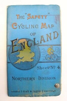The Safety Cycling Map Of England (Northern Division) Victorian Cycling Epejem