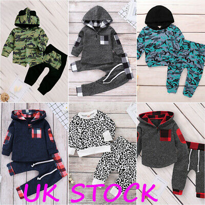 Toddler Baby Kids Long Sleeve Hoodies Top Trouser Tracksuit Boy Girl Clothes Set