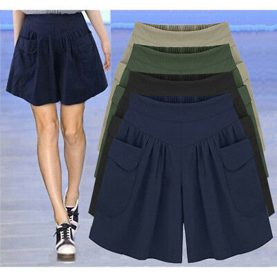 Plus Size Womens Skort Baggy Wide Leg Skirts Ladies Casual Shorts Pants UK 6-20