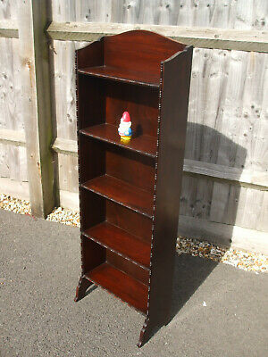Antique Edwardian slimline tall narrow bookcase, Waring & Gillow quality