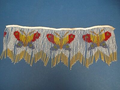 Glass Beaded lampshade edging Vintage Butterfly design good condition 46cm long