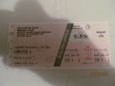 Wales v Fiji. 1995. Rugby Union. Match Ticket + Teams Dinner Tickets.