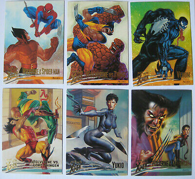 1996 Fleer X-Men Allies Japan Set of 6 Trading Cards Marvel Wolverine Spiderman